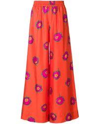 LaDoubleJ Floral Flared Trousers - Geel