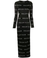 Philipp Plein - Logo Print Maxi Dress - Lyst