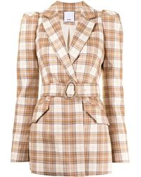 Acler Plaid-check Belted Blazer - Brown