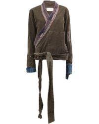 Greg Lauren - Distressed Cotton Wrap Jacket - Lyst