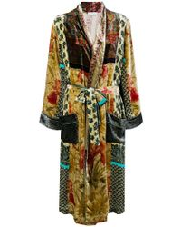Pierre Louis Mascia Belted Embroidered Coat - Multicolor