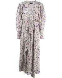 Isabel Marant プリント ラッフル ドレス - ホワイト
