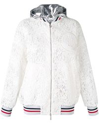 Moncler Gamme Rouge Embroidered Hooded Jacket - White