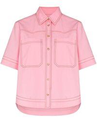 Lee Mathews May Contrast Stitching Cotton Shirt - Pink