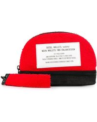 DIESEL Logo Tag Make Up Bag - Red