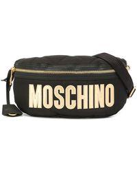 Moschino Logo Print Belt Bag - Black