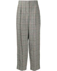 Emporio Armani Tartan Pattern High-waisted Trousers - White