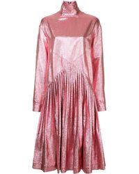 Cedric Charlier Metallic Flared Long-sleeve Dress - Pink