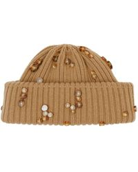 Burberry Embellished Rib Knit Wool Beanie - Brown