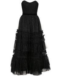 Marchesa notte ラッフル ティアード ドレス - ブラック
