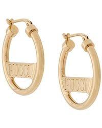 Emilio Pucci Logo Engraved Hoop Earrings - Metallic