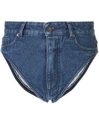 Y. Project Short en jean à taille haute - Bleu