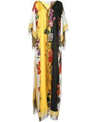 Oscar de la Renta Vestido largo con estampado floral - Blanco