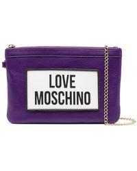 Love Moschino ロゴ クラッチバッグ - パープル