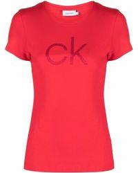 Calvin Klein ラインストーンロゴ Tシャツ - レッド