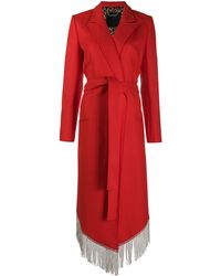 Philipp Plein Nara Crystal Fringel Coat - Red