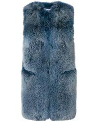 Sonia Rykiel Gilet mi-long en fourrure de renard - Bleu