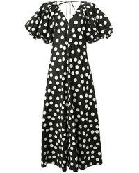 Lee Mathews Cherry Spot パフスリーブ ドレス - ブラック