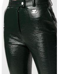 Courreges Pantalones con efecto de vinilo - Verde