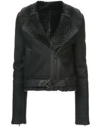 Kimora Lee Simmons - Chevron Fur Collar Bomber Jacket - Lyst