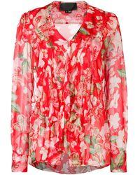 Philipp Plein Блузка С Цветочным Принтом С Логотипами - Красный