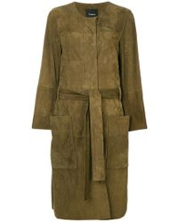 Theory - Belted Large Pocketed Coat - Lyst
