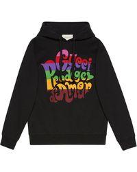 Gucci Prodige D'amour プリント パーカー - ブラック