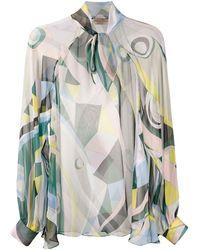 Emilio Pucci Sheer Occhi-print Blouse - Green