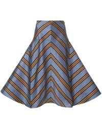 Fendi Striped Flared Skirt - Синий