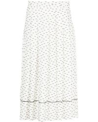 Ports 1961 Patterned Pleated Skirt - White