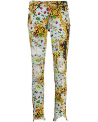 Versace Jeans Multi-print baroque skinny jeans - Bleu