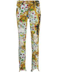Versace Jeans - バロックプリント スキニージーンズ - Lyst