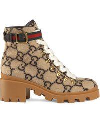 Gucci Trip Gg Monogram Wool Combat Boot - Multicolour
