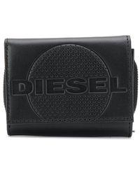 DIESEL Perforated Tri-fold Wallet - Black