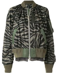 Sacai Zebra-print Bomber Jacket - Black