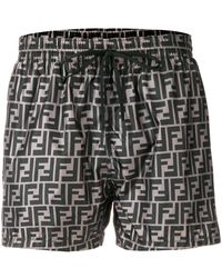 Fendi Logo Print Swim Shorts - Gray