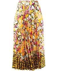 Saloni Floral-print Pleated Skirt - Yellow