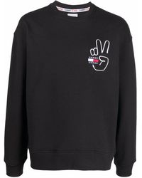 Tommy Hilfiger Pullover mit Peace-Logo - Schwarz