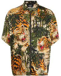 DSquared² Tiger Flower Short Sleeve Shirt - Green