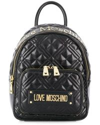 Love Moschino Quilted logo plaque backpack - Nero