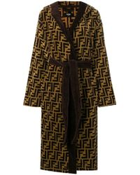 Fendi Ff Hooded Bathrobe - Multicolour