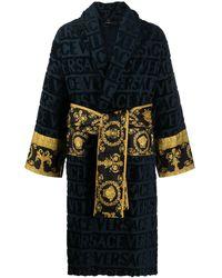 Versace Короткий Халат С Принтом Barocco И Логотипом - Синий