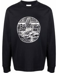 Soulland Owl Long-sleeved Organic Cotton T-shirt - Black