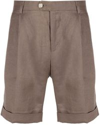 Billionaire Embroidered Crest Tailored Shorts - Brown