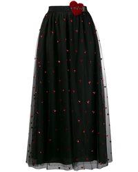 RED Valentino Love Heart メッシュスカート - ブラック