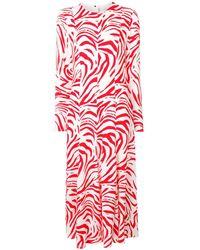 MSGM Длинное Платье С Зебровым Принтом - Белый