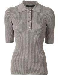 Nobody Denim Chelsea Knitted Polo Shirt - Grey