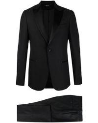 Z Zegna サテンラペル スーツ - ブラック