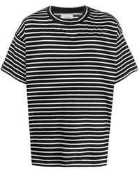 Laneus Oversized Striped T-shirt - Black
