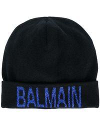 Balmain Berretto con logo glitter - Blu
